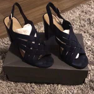 Ann Taylor Navy blue suede woven block heel sandal